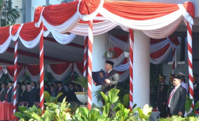 Wakil Wali Kota Surabaya Whisnu sakti Buana saat peringatan upacara kesaktian pancasila dibalai kota