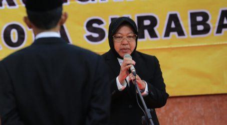Wali kota Surabaya Tri Rismaharini saat memberikan arahan kepada para pejabat yang baru dilantiknya