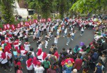 Tarian bersama (flash mob) yang ditampilkan relawan risma selamanya menarik perhatian publik diacara car free day minggu (15/12)