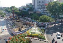 progres pembangunan kawasan alun-alun jalan Yos Sudarso